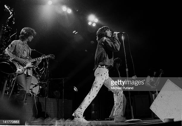 Mick Taylor and Mick Jagger of the Rolling Stones perform on stage at Wembley Empire Pool London September 1973
