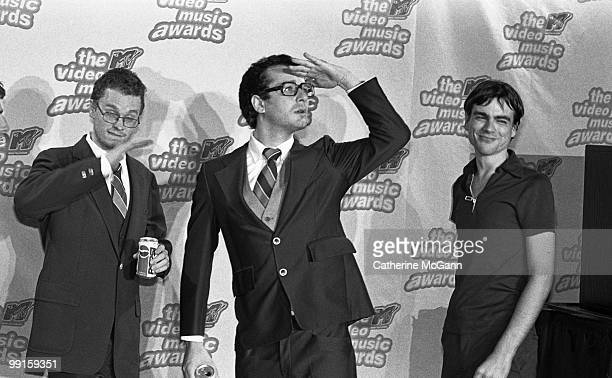 Weezer pose for a group photo at the 12th Annual MTV Video Music Awards on September 7 1995 at Radio City Music Hall in New York City New York