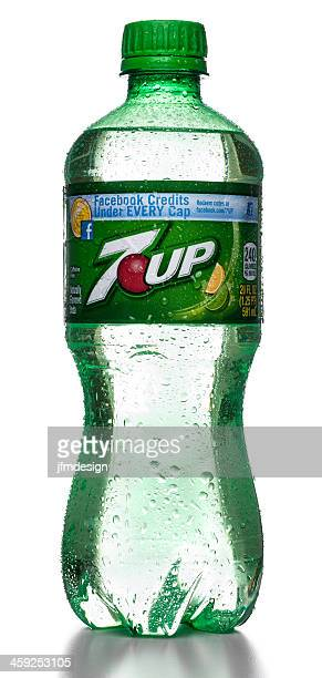 7up bottle with water drops and facebook promotion