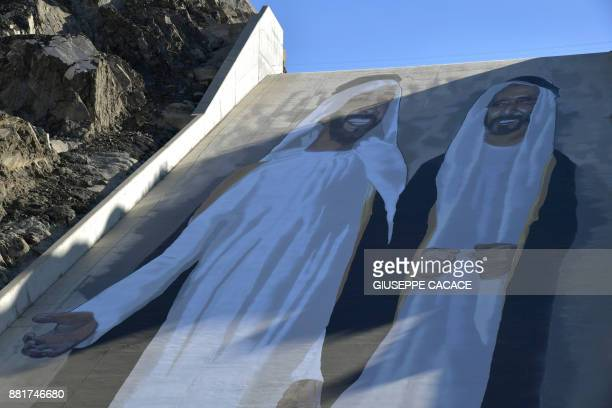 A 80mx30m mural by German street artist Case Maclaimon showing late Sheikh Zayed bin Sultan alNahyan and late Sheikh Rashid bin Saeed alMaktoum the...