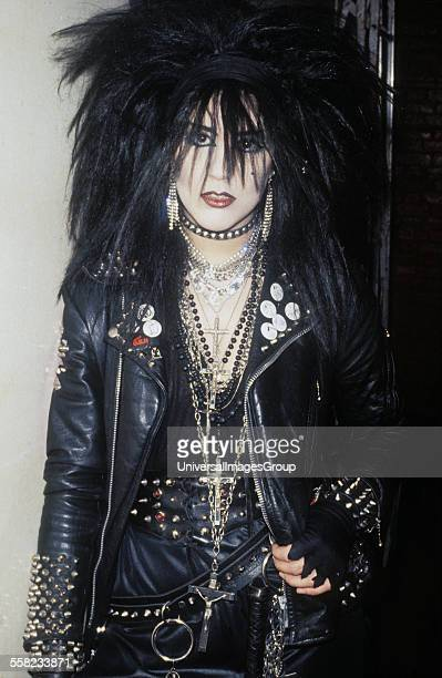 80s Goth Heavy Metal look wearing leather and dog collar London Kings Road 1980's