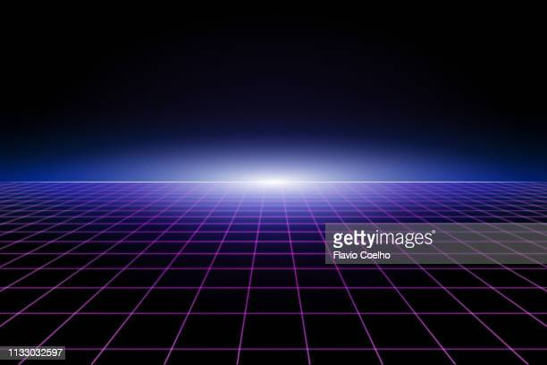 80s retro grid background - copy space stockfoto's en -beelden