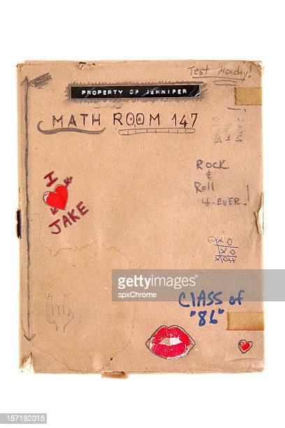 80 s Retro escuela libro con cubierta