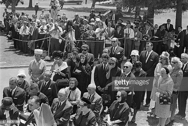8/10/1962Westwood CA The invited mourners to the funeral services for actress Marilyn Monroe enter the Westwood Park Memorial Chapel August 8th as...