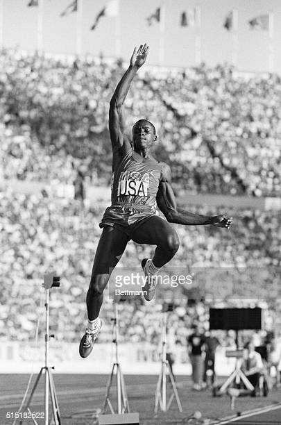 Helsinki, Finland- America's Carl Lewis wins the long jump event at the World Track and Field Championship, with a jump of 8.55 meters for a gold...