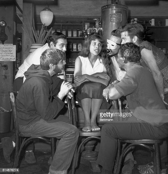 Series of photos depicting life of Beatniks in New York's Greenwich Village Photo shows group of Beatniks inside the Gasligh Coffee Shop
