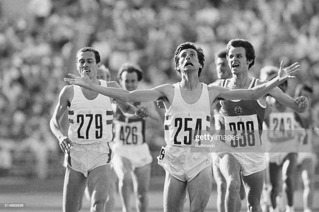 Sebastian Coe of Great Britain wins the Olmpic 1,500 meters gold medal in 3 minutes and 38.40 seconds here 8/1. East Germany's Jurgen Straub (338) took the silver and Steve Ovett finished third (l). The win avenged Coe's defeat to Ovett in the 800 meters. UPI mt/Joe Marquette