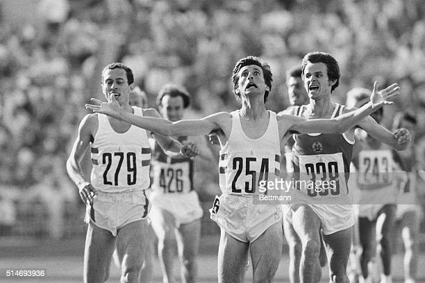 Moscow: Sebastian Coe of Great Britain wins the Olmpic 1,500 meters gold medal in 3 minutes and 38.40 seconds here 8/1. East Germany's Jurgen Straub...