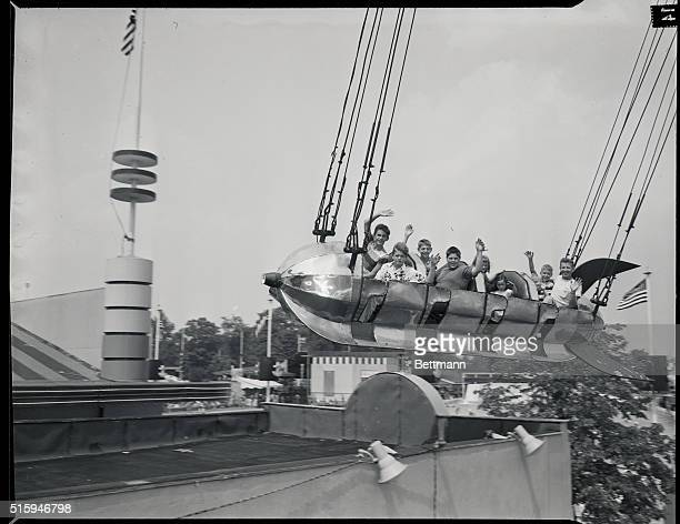 8/12/1953Palisades Park NJPalisades Amusement ParkYoungsters on the Jet Plane ride during Mirror Day at the fun center