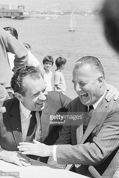 Mission Bay, CA-A hearty chuckle is enjoyed by presidential candidate Richard Nixon and his running-mate, Governor Sporo Agnew, during an informal...