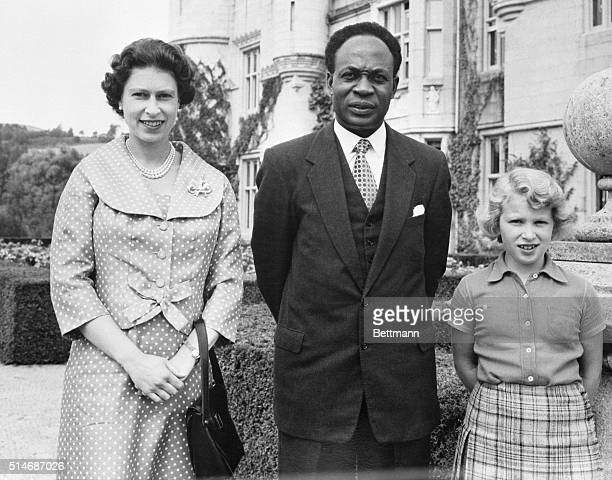 8/12/59Balmoral Scotland Kwame Nkrumah Prime Minister of Ghana visits Queen Elizabeth and Princess Anne at Balmoral Castle here Aug 12 The African...