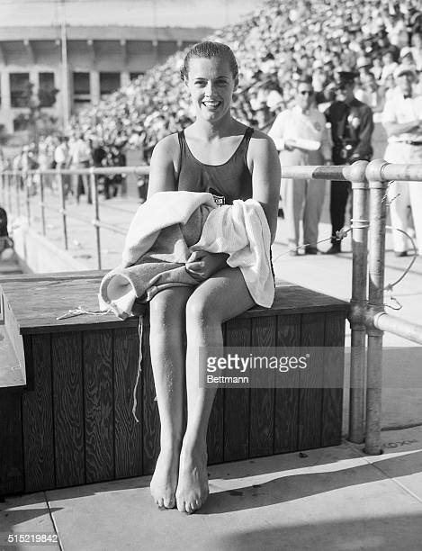 8/13/1932Los Angeles CaliforniaEleanor Holm of the US Women's Olympic swimming team the new champion in the 100 meter backstroe event at the 1932...