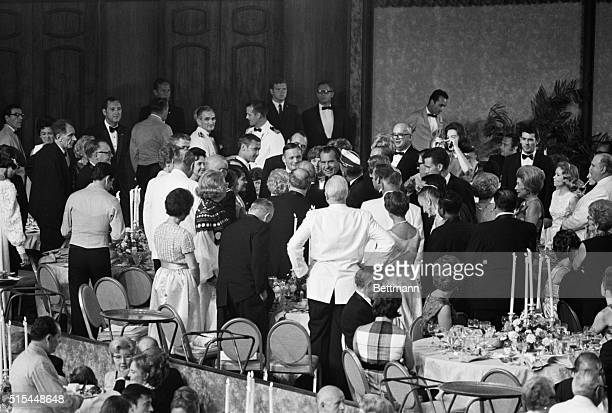 8/13/1969Los Angeles CA President Nixon and Apollo 11 astronaut Neil Armstrong mingle with the guests at the dinner honoring the Apollo 11 astronauts...