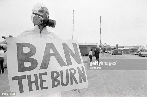 8/13/1986Hammond IN In a protest against burning toxic materials at a chemical plant Kent Palmer a member of the Greenpeace organization wears a gas...