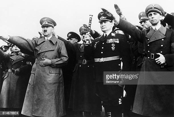 Berlin, Germany: German people laud Hitler as Fuehrer of the United German Empire including Austria. Thousands lined his path through streets in...