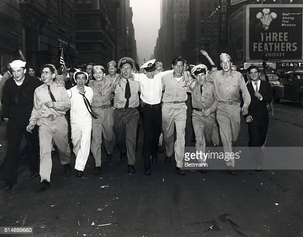 8/14/1945New York NY Servicemen celebrate in Times Square area VJ celebration New York City