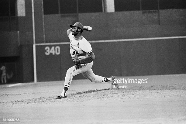 8/14/1971Pittsburgh PA The winning form of Cardinals' pitcher Bob Gibson is shown during his first nohitter against the Pirates