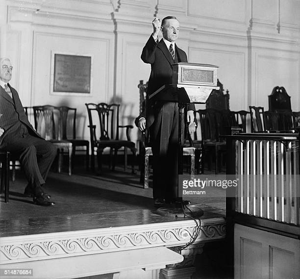 8/14/24Washington DC President Coolidge is shown above delivering his speech of acceptance in Continental Memorial Hall after being notified of his...
