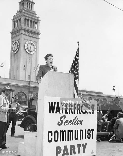 8/14/48San Francisco California Speaking from a new fortydollar soapbox which she said indicates We are here to stay Communist party member Oleta...
