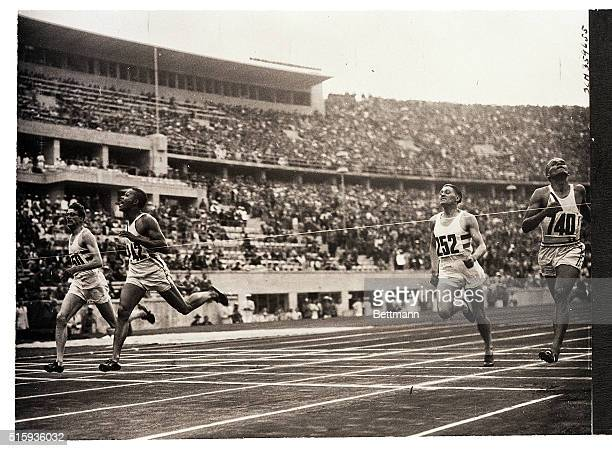 8/15/1936Berlin Germany The finish of the 400meter race at the Olympics in Berlin with Archie Williams of the United States winning in 465 Second is...