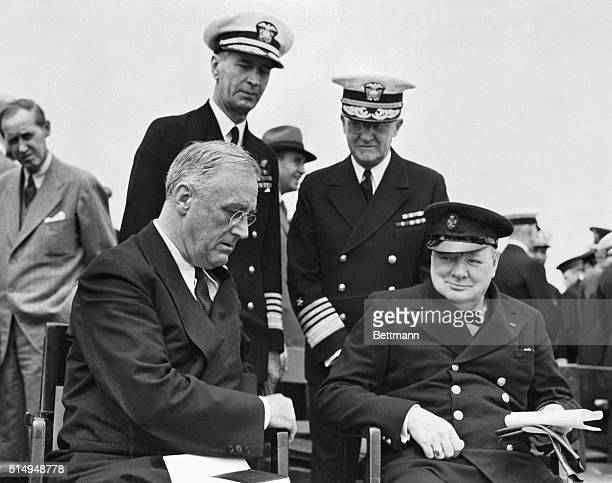 8/15/1941At Sea Pictured in an intimate pose aboard the HMS Prince of Wales on the high seas is President Roosevelt and Prime Minitser Churchill as...