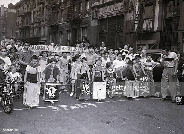 8/15/1950New York NYORIGINAL CAPTION READS With the skullandcrossbones design setting the cheerful mood of the racers the 12th annual 'Anything On...