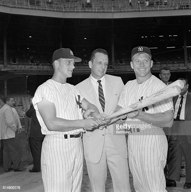 8/15/1961New York NY Current sluggers hot on the trail of famous homer mark of 60inaseason Roger Maris and Mickey Mantle flank former Pirate homerun...