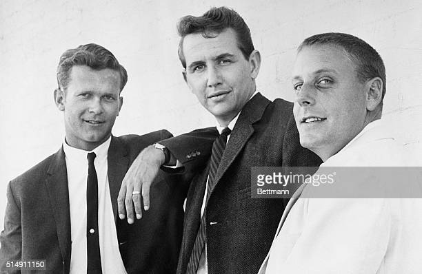 8/16/1961Hollywood CA The revamped Kingston Trio is shown here with the new member of their group John Stewart Others are Bob Shane and Nick Reynolds...