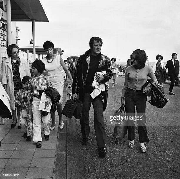 Nice, France-: French actor Jean-Paul Belmondo at Nice Airport with his children Patricia Florence and Paul to begin a vacation stay at this resort.