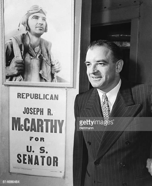 8/16/46Appleton Wisconsin Circuit Judge Joseph R McCarthy 37yearold Appleton former Marine captain smiles happily after defeating Sen Robert...