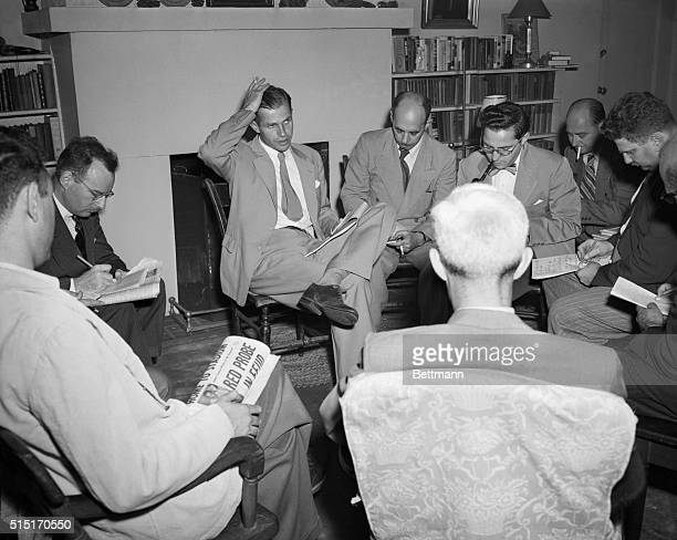8/17/1948New York NY Alger Hiss a figure in the current Washington Red Spy probe talks to newsmen in his New York apartment 22 East 8th St In...
