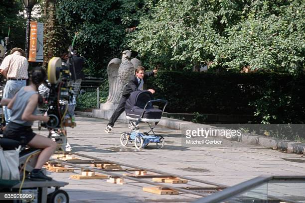 8/18/1998New York NY Michael J Fox on location in Central Park during filming of Spin City his ABC sitcom