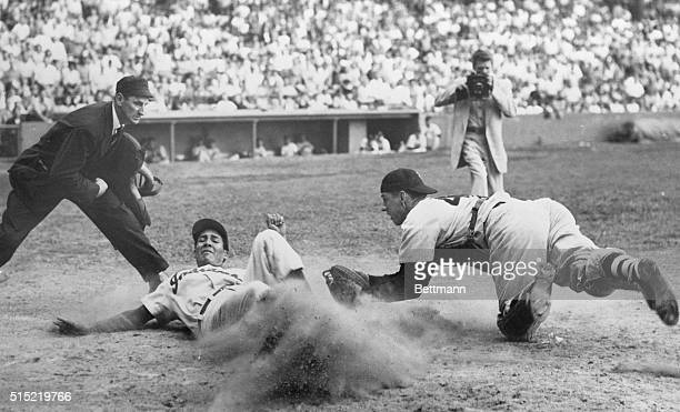 8/19/1952Cleveland Ohio Chicago White Sox catcher Sherman Lollar lunges for Cleveland Indians Bob Avila tagging him out as Avila attempts to come...