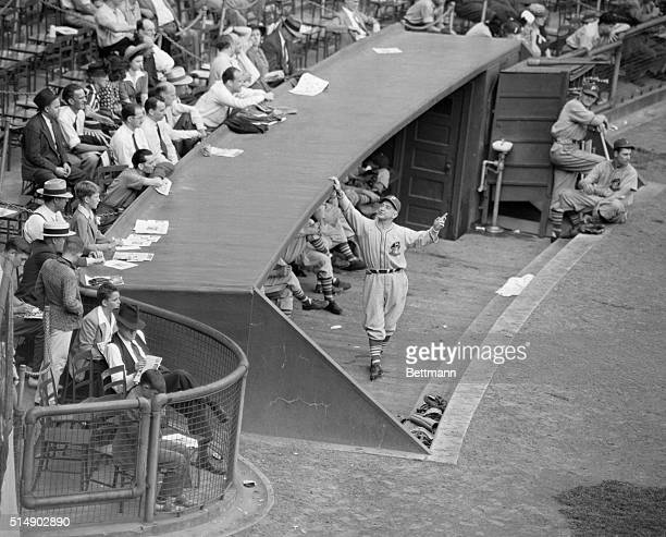 "New York, NY: Pittsburgh Pirates' manager Frankie Frisch ""in action"" in the Pirate's dugout during a game at the Polo Grounds."
