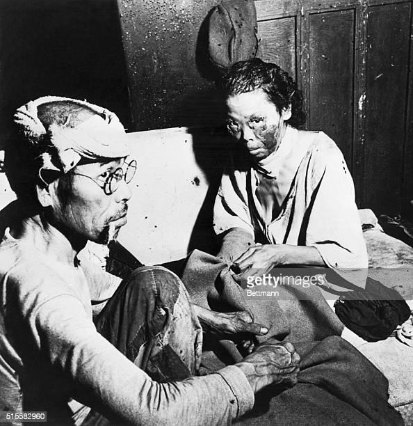 Hiroshima,Japan: Atomic Bomb vitims. Injured were treated in bank building.