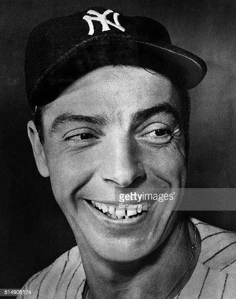Joe DiMaggio, great outfielder of the New York Yankees. Head and shoulders photograph.