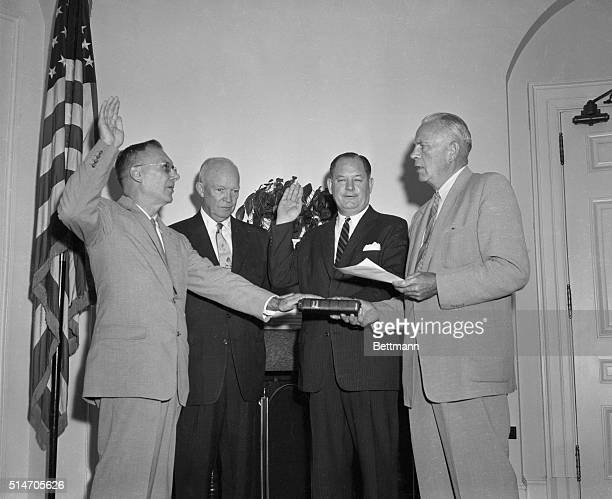 8/19/58Washington DC President Eisenhower presents Commissions of Office to Dr T Keith Glennan of Cleveland administrator of the new National...