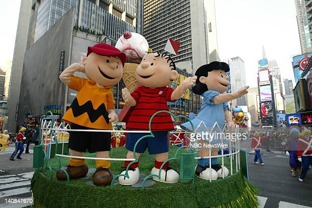 81st ANNUAL MACY'S THANKSGIVING DAY PARADE -- Pictured: Charlie Brown characters wave to spectators at the 81st Annual Macy's Thanksgiving Day...