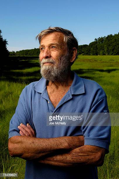 81year old retired pilot Bob Dale poses in the marsh between the island he loves and the mainland he returned to on July 7 2006 in Brunswick Maine...