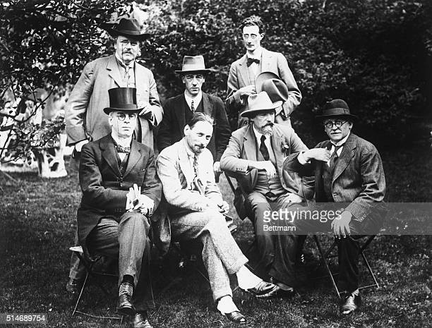 Here is a noteworthy group of some of the most prominent men of letters of England and Ireland at the Garden party. Fronyt row: Seated Senator...