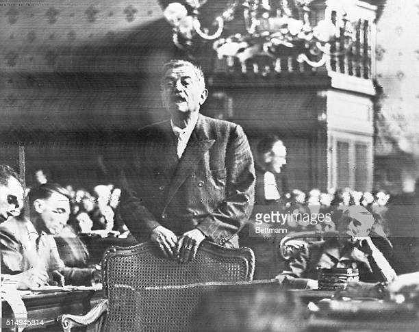 8/21/1945Paris France Pierre Laval former Vichy leader returned from Spain to face trial himself testifies in the trial of Henri Petain in Paris...