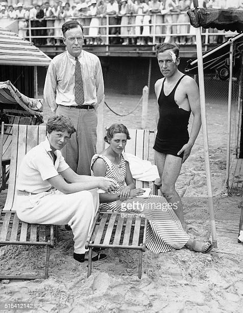 Atlantic City, New Jersey-A swimming party was given for the flying Mollisons, Amy and Jim, by George Palmer Putnam and his wife, Amelia Earhart...