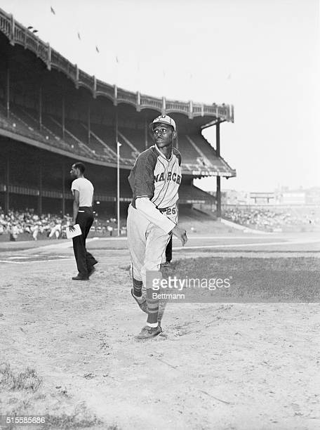 """New York, NY: Leroy """"Satchel"""" Paige, pitcher for the Kansas City Monarchs, is said to be the best and highest paid colored ball player. Here, the..."""
