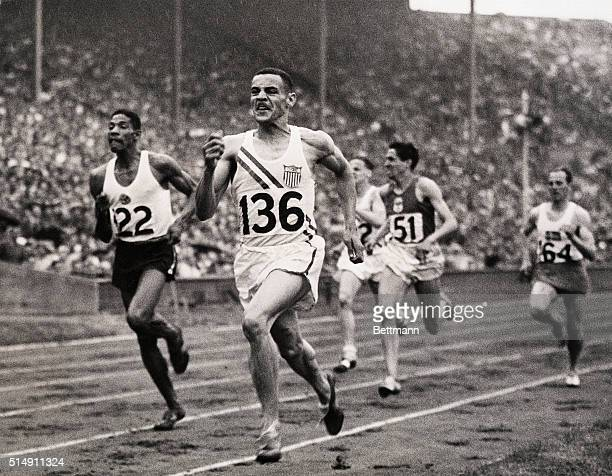 8/2/1948London England Mal Whitfield of Ohio State forges to the front at the halfway mark never to relinquish the spot as he sets a new Olympic...