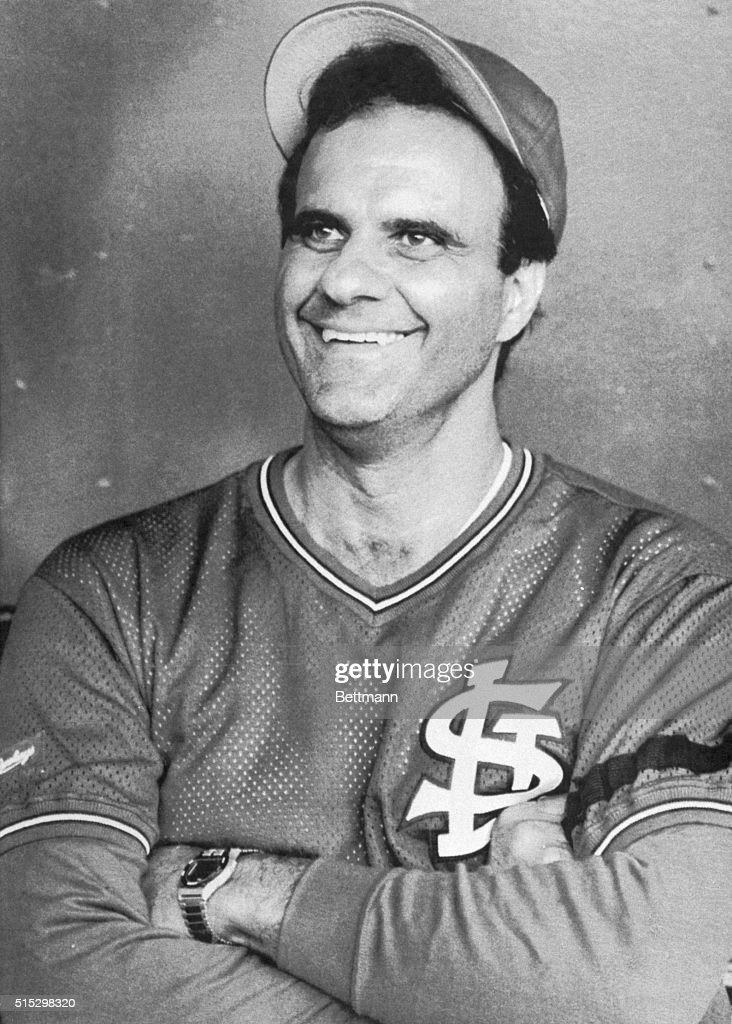 8/2/1990--Philadelphia, Pennsylvania- Joe Torre, the new manager for the St. Louis Cards smiles during a pre-game interview. Torre, signed a contract to manage the Cards through the 1992 season. Torre joined the Cardinals team in Philadelphia for the last game of the St. Louis Cardinals three game series against the Philadelphia Phillies.