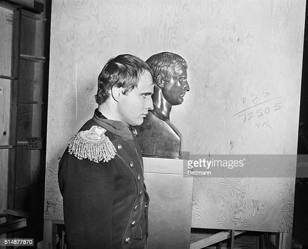 8/22/1954Hollywood CA Marlon Brando who's portraying Napoleon Bonaparte for the movie Desiree couldn't look much more like the French Emperor as is...