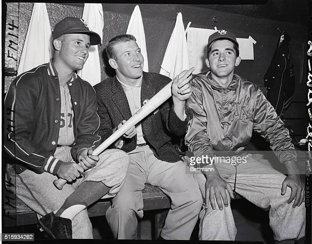 8/22/1956New York NY Ron Fairly of Long Beach California centerfielder for the US All Stars and Mike McCormick pitcher for the US All Stars are shown...