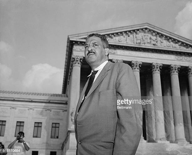 Washington, D.C.: Thurgood Marshall, NAACP Chief Councel, is shown in front of the Supreme Court, making a last-ditch appeal that would permit Negro...