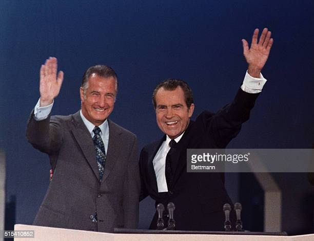 Miami Beach, Florida: President Richard Nixon will be inaugurated for a second term on Jan. 20, 1973. Nixon and Vice President Spiro T. Agnew wave...