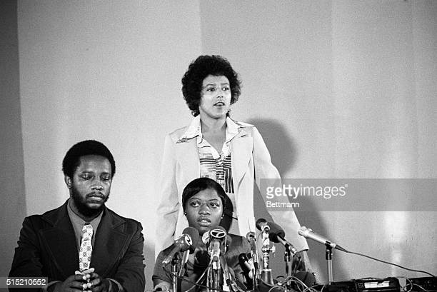 8/22/1975Oakland Ca Recently acquitted of the murder of her white jailer Joanne Little appears at news conference sponsered by the Black Panthers...
